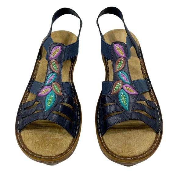 NWOT Rieker Navy Blue Leather Sandals 40, 8.5